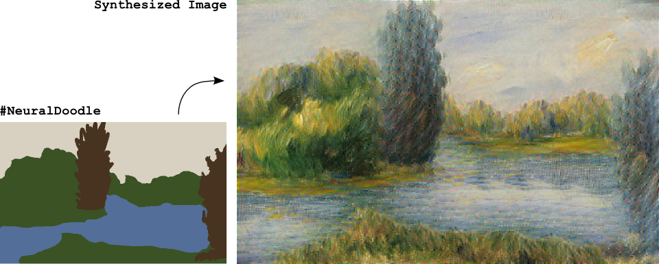 #NeuralDoodle lets you generate masterpieces from rough sketches, in only 450 lines of code. https://t.co/MZfbWHpxwb https://t.co/ZCE8VhnjeN