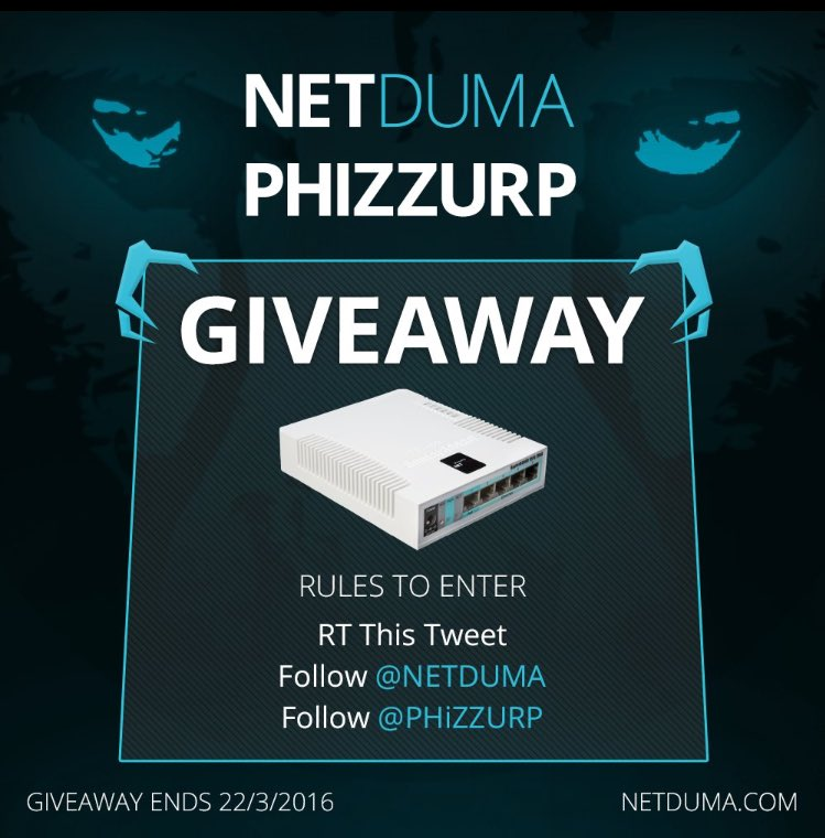 **GIVEAWAY** RT & Follow both @PHiZZURP & @NETDUMA to enter for a chance to win a NETDUMA gaming router! https://t.co/3nTWmjWegf