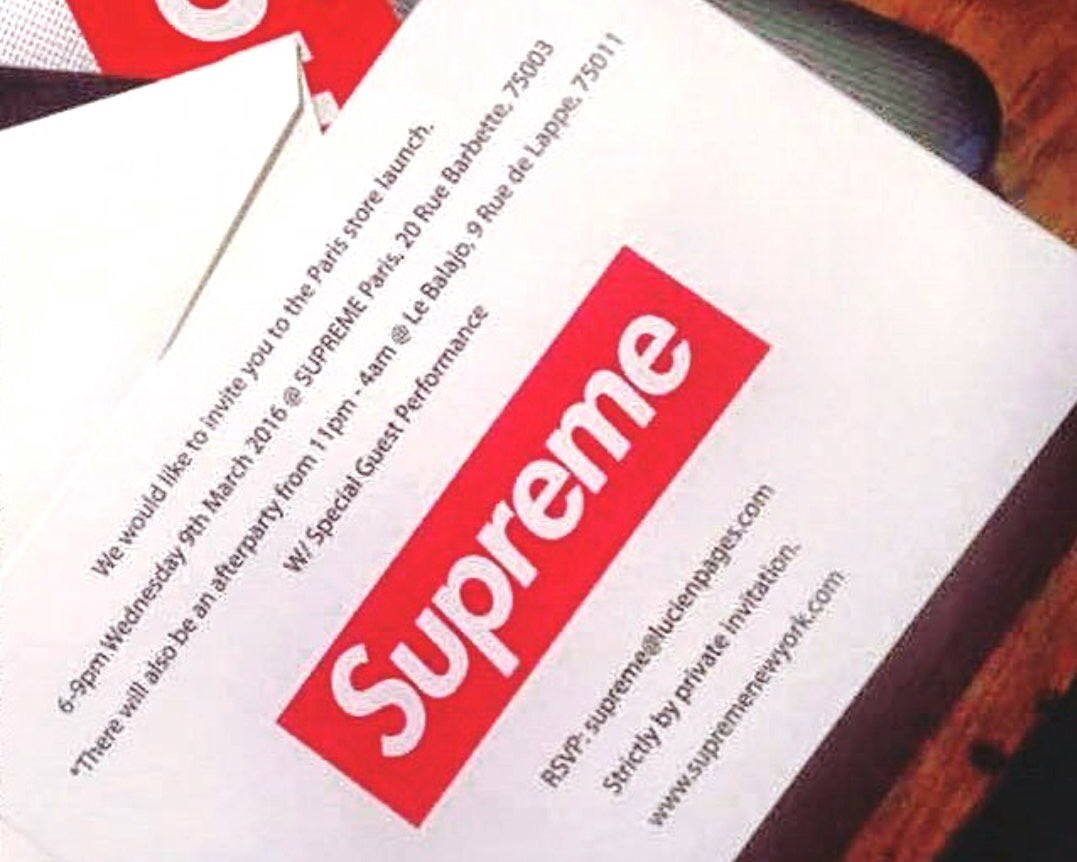 MRBLD on Twitter Supreme Paris store launch invitation letter