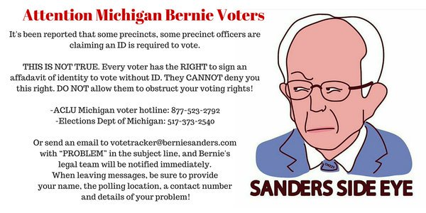 #MichiganPrimary ID *NOT* required, You've RIGHT to sign an affidavit of identity to #vote /@WoobieTuesday #Bernie https://t.co/yvCJxAwcAt