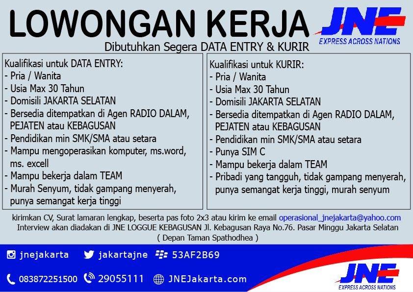 Jne Express Jakarta On Twitter Lowongan Kerja Di Jne Sebagai