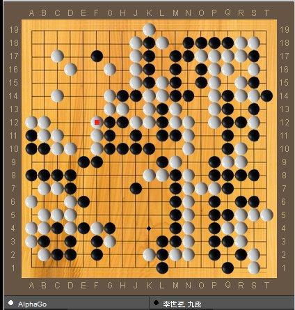 Final position in Game 1, #AlphaGo - Lee Sedol; Black resigns. Historic victory for #Go program #weiqi #baduk https://t.co/xWyUT4WxLd