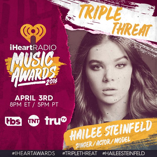 Our girl & Escape The Room pal #HaileeSteinfeld is nominated for Biggest #TripleThreat at our #iHeartAwards.