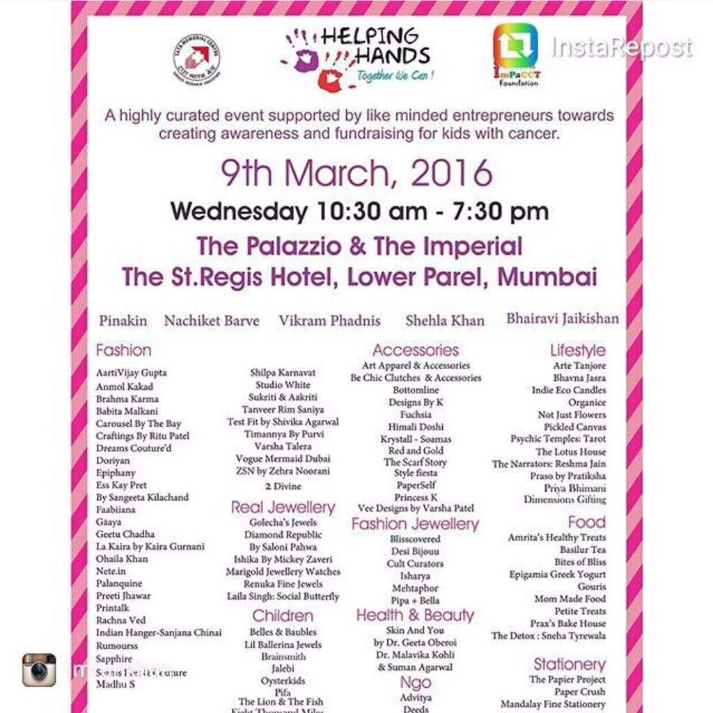 Support @Shehlaak @helpinghandsdoundationindia host an exhibition in aid of accommodation for kids with cancer today