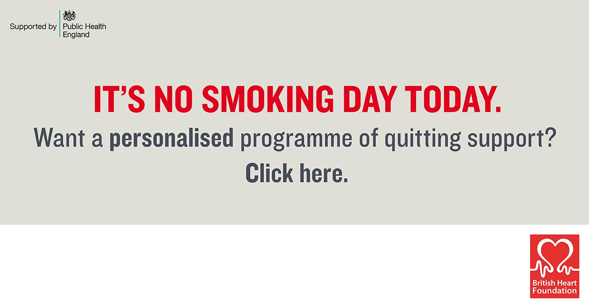 RT @NHSChoices Today is #NoSmokingDay – a time for smokers to start their quit journey. Visit https://t.co/E9IECctZc4 for more.