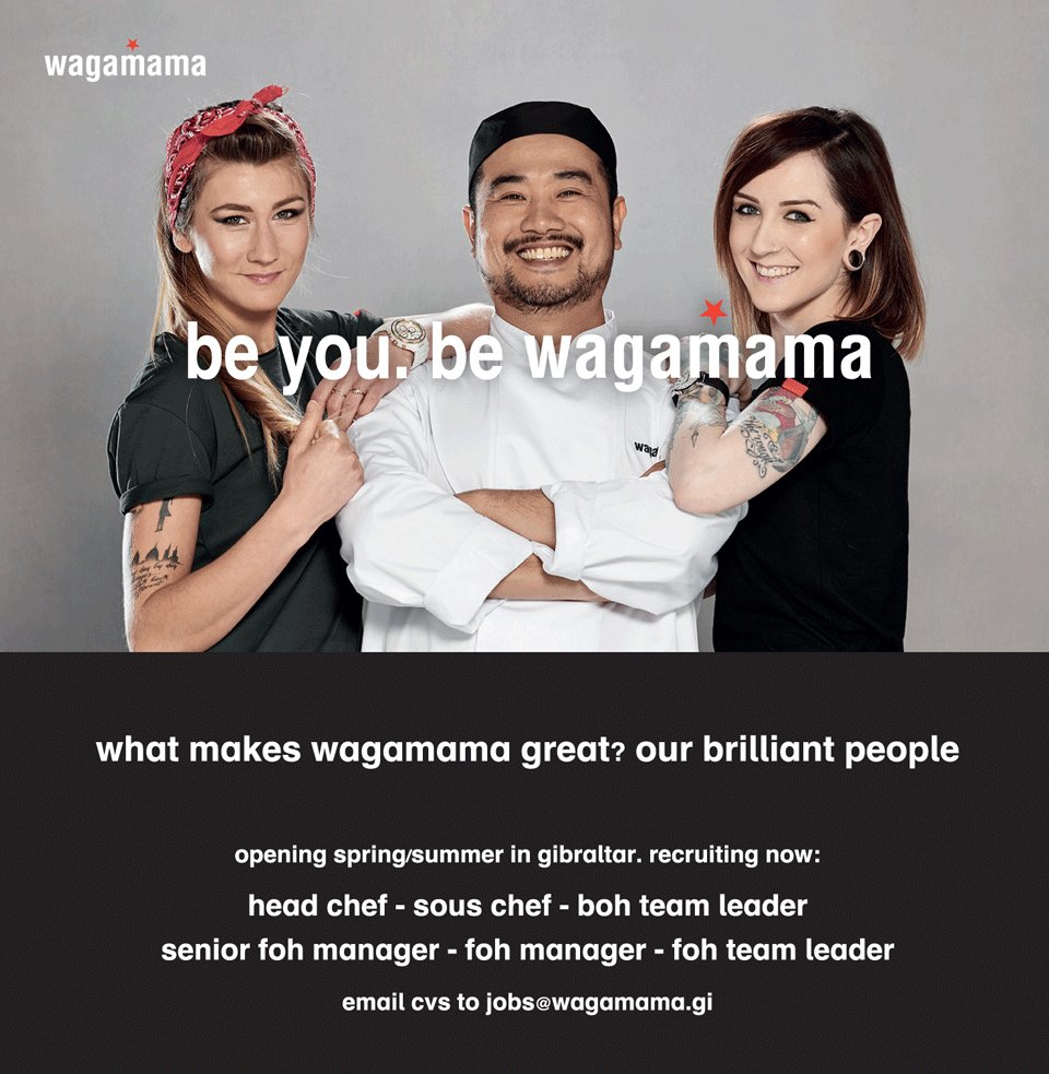 wagamama gibraltar on want to be part of our wagamama wagamama gibraltar on want to be part of our wagamama gibraltar team we are now hiring send your cvs to jobs wagamama gi jobs wagamama
