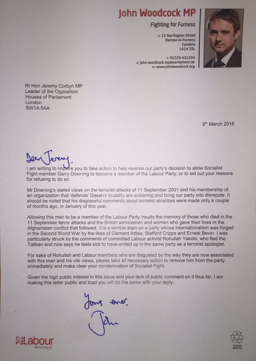 My open letter to @jeremycorbyn asking him to take action to reverse decision to allow 9/11 apologist to join Labour https://t.co/TFmewkah2y