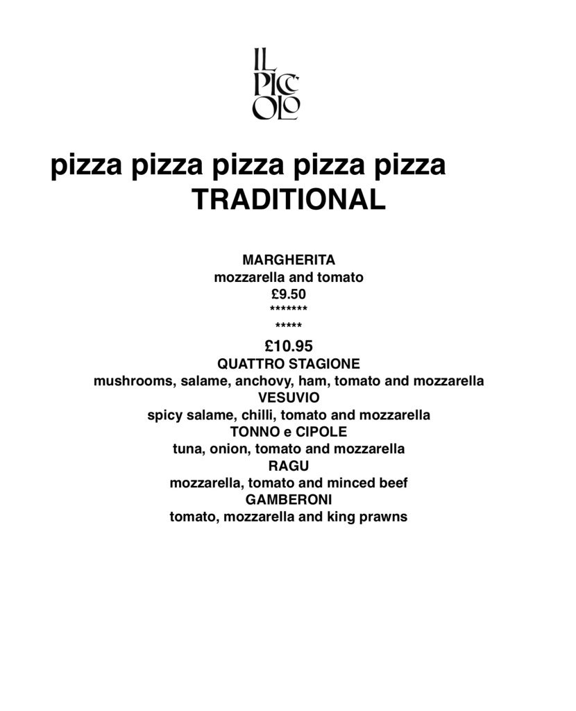 Il Piccolo Corbridge On Twitter New Pizza Menus