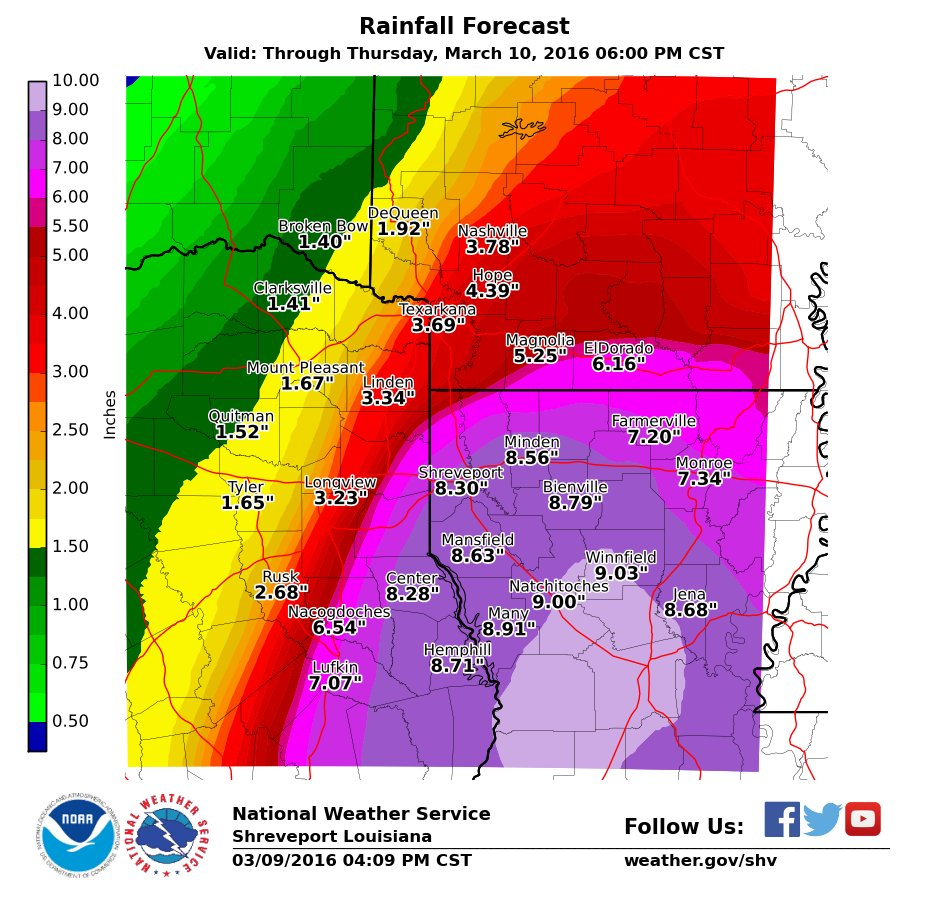 Flash Flood Warning Includes Shreveport Bossier City And Minden - Us weather map next 24 hours