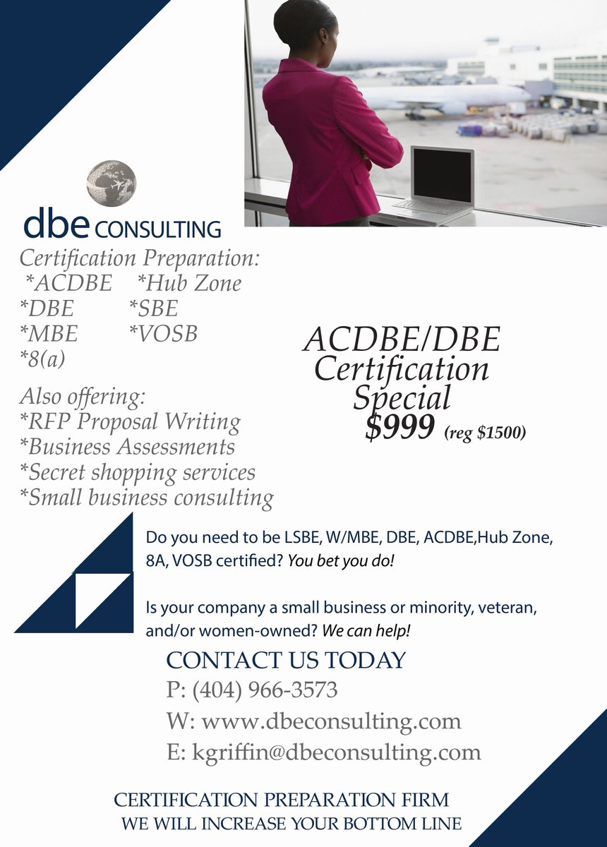 Dbe Consulting On Twitter Certification Specials Let Dbe