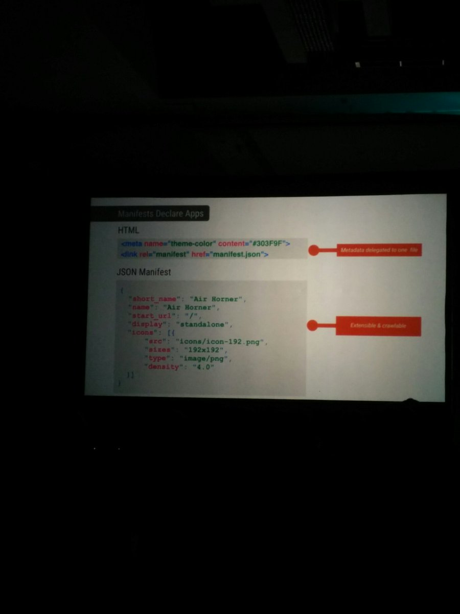 Provide manifest in your HTML, get ability to instantly add to the Android home screen. Tasty! #FluentConf https://t.co/pYS1R2ZDsz