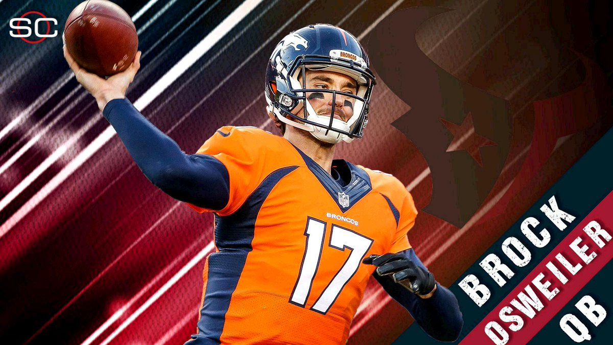 THIS JUST IN: Broncos QB Brock Osweiler is signing with the Houston Texans. (via @AdamSchefter and media reports)