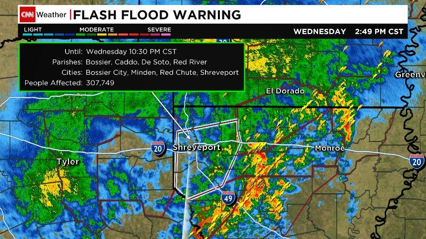 I 20 Louisiana Map.Flash Flood Emergency For Nw Louisiana I 20 Shut Down In Webster
