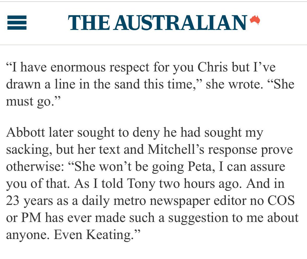 Peta Credlin's text to Chris Mitchell demanding he sack Niki Savva, and his reply. https://t.co/d4fAPHv4Ge https://t.co/boOcV68R8c
