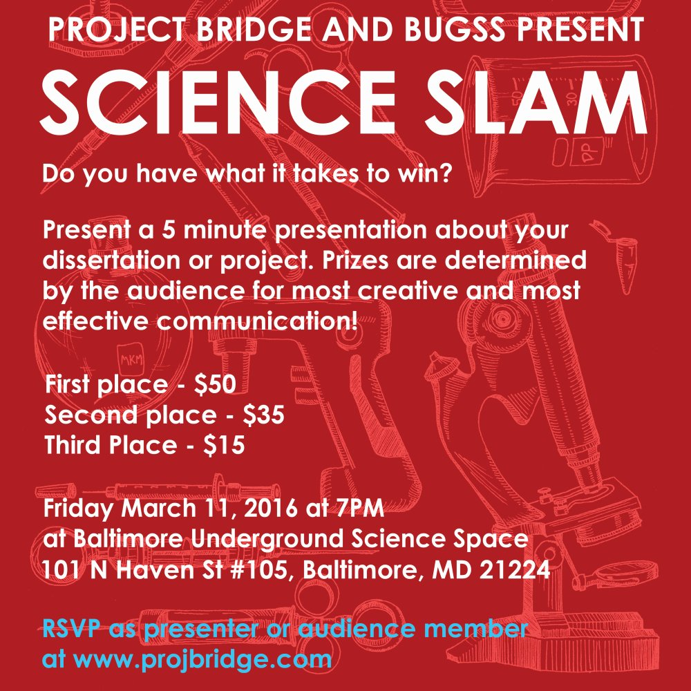 Don't miss Friday 7pm SCIENCE SLAM w/ @projbridge. Featuring local scientists giving 5 min flash talks! ALL invited! https://t.co/Yi2gs1t7Xj