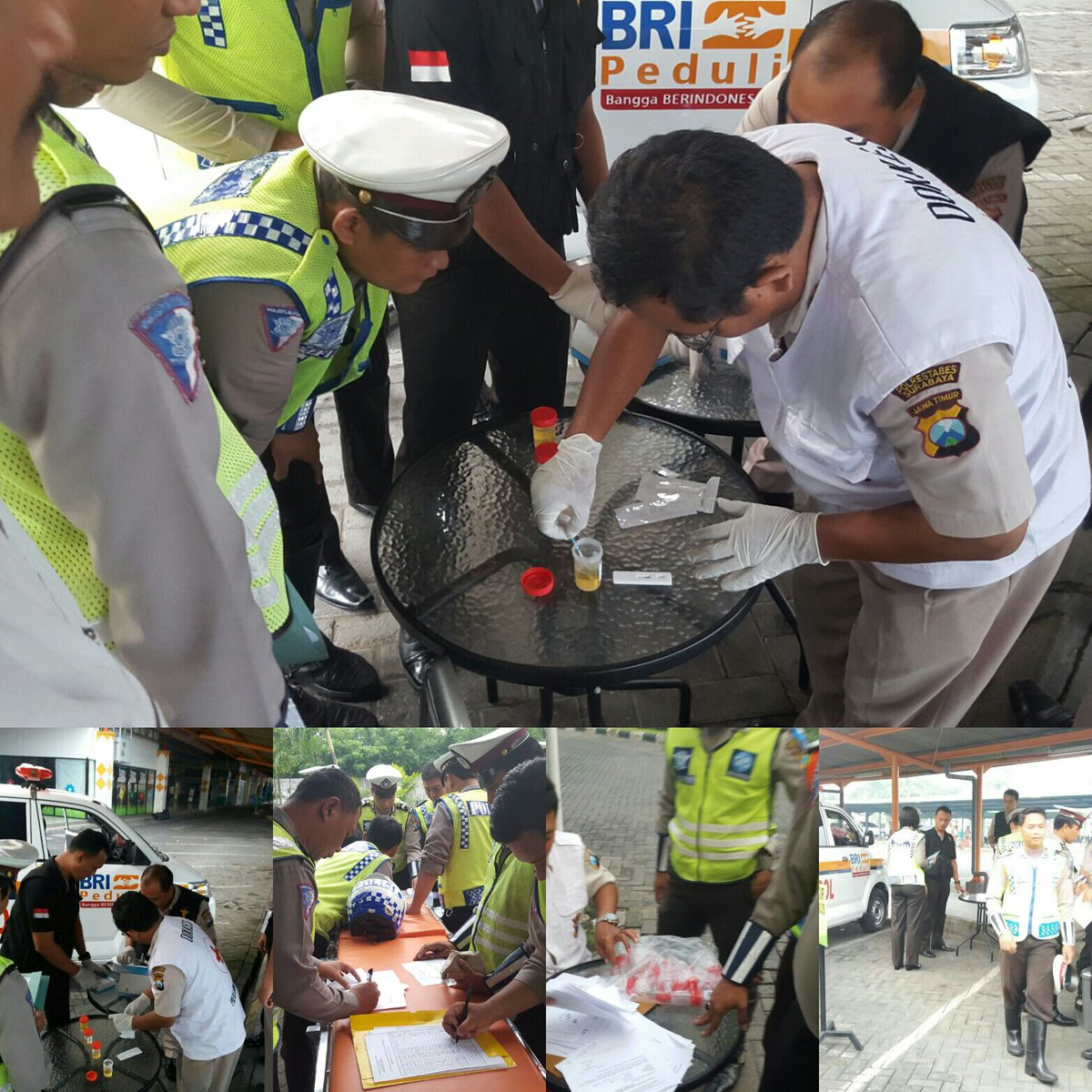 Anggota Satlantas Polrestabes Surabaya melaksanakan Pemeriksaan Test Urine