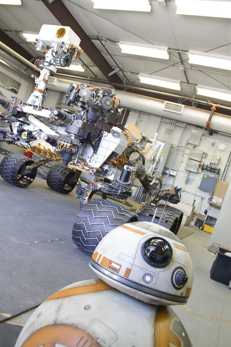 Earlier today in a galaxy right here at home: #BB8 met our real robots and learned about @NASA's #JourneytoMars