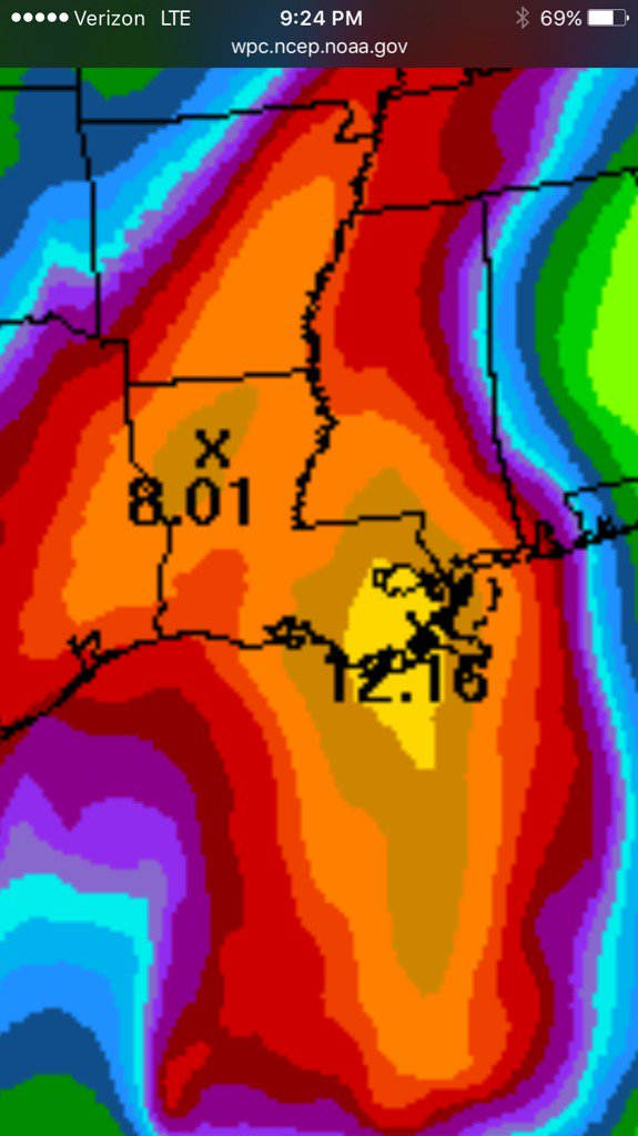 Latest rainfall forecast through  Saturday evening. #nola #fb #lawx #mswx https://t.co/qJFmeUBj5S
