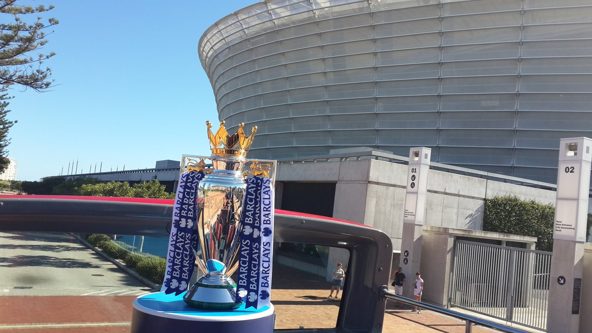 The @premierleague trophy at @CapeTown stadium. Cc @CapeTownRedBus https://t.co/4ONGSh5Hau