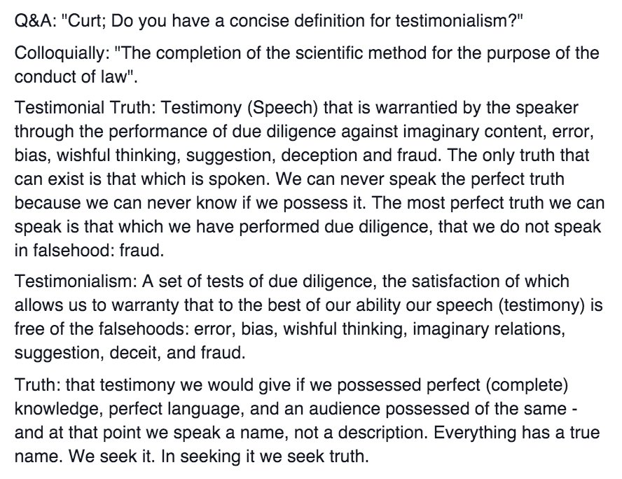 "Curt Doolittle on Twitter: ""A Definition of Testimonialism: The art ..."