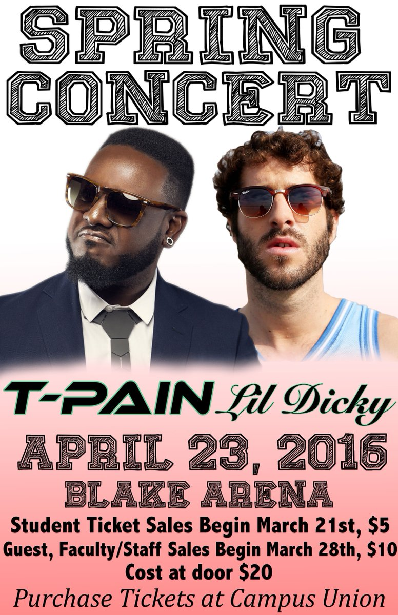 .@TPAIN and @lildickytweets will be here 4/23, so get your spring concert tickets in the union starting 3/21 for $5! https://t.co/gyfvvFA27z