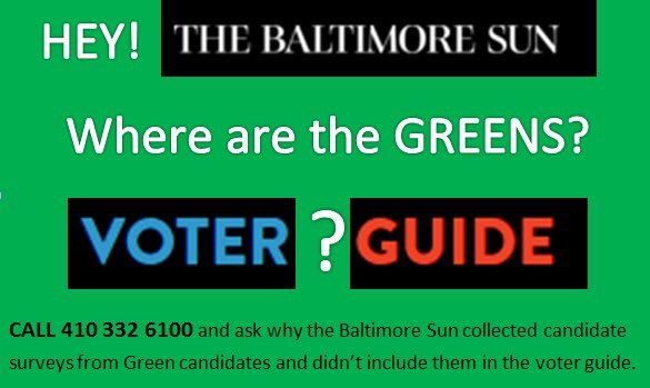 Call the  @baltimoresun  and ask them to put @baltimoregreens in the Primary Voter Guide https://t.co/kSWW9szngj