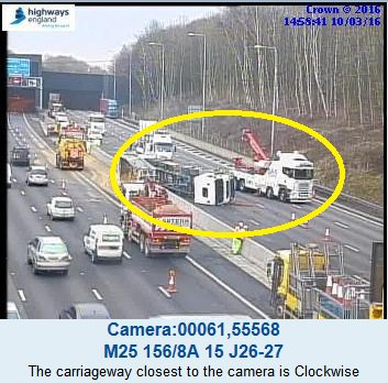 #M25 #Essex is now fully blocked anti-clock btwn J27 (#M11) and J26 to enable a crane to lift the overturned lorry. https://t.co/BGqk7PREye