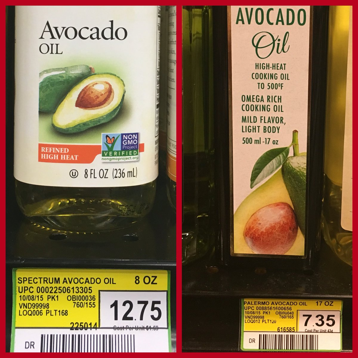 Both are non-#GMO because GMO avocados don't exist...yet the artificial premium is quite strong with this one: https://t.co/C9WE9fEV2G