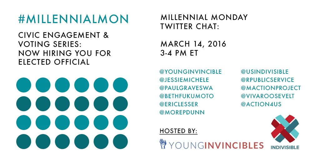 On 3/14 we're joined by @USIndivisible + special partners to kick off our #MillennialMon Civic Engagement Series. https://t.co/9P7umfPJCI