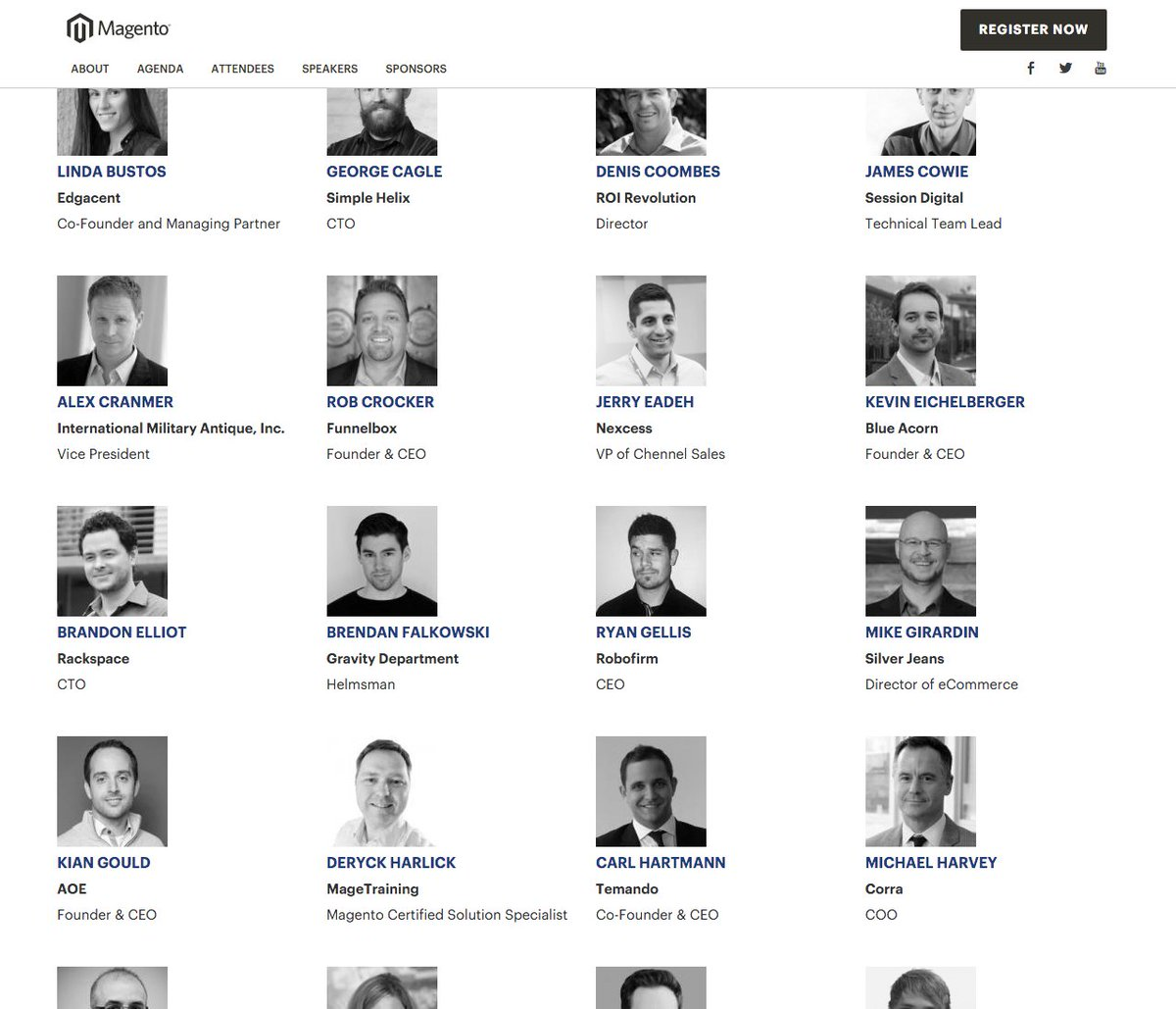2016 speakers for @magento Imagine are posted: https://t.co/uoCbIfVe7A  Most unique job title. Drops mic. https://t.co/QmVKzFt5QA