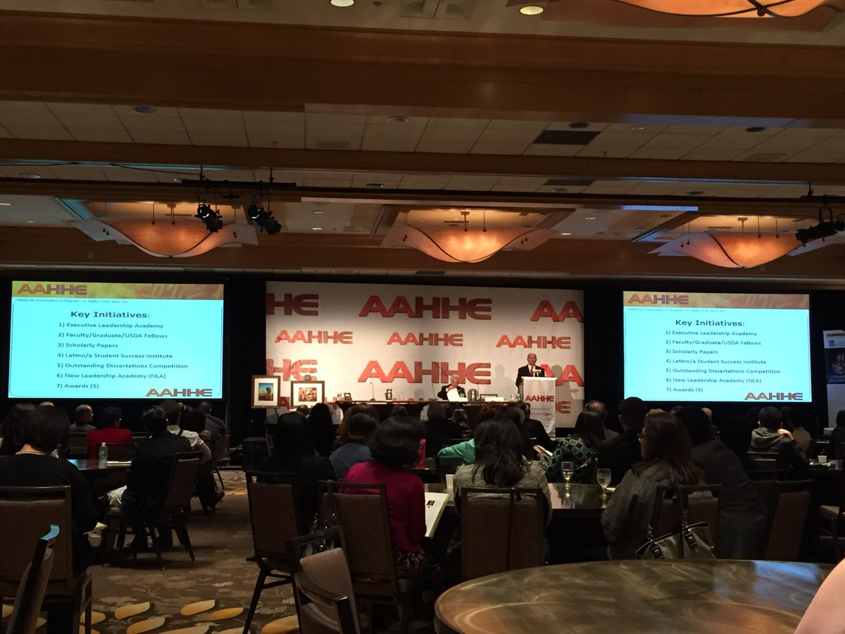 #aahhe16 has officially started! AAHHE President Loui Olivas is welcoming everyone to Costa Mesa. https://t.co/rAAQH9XyxP
