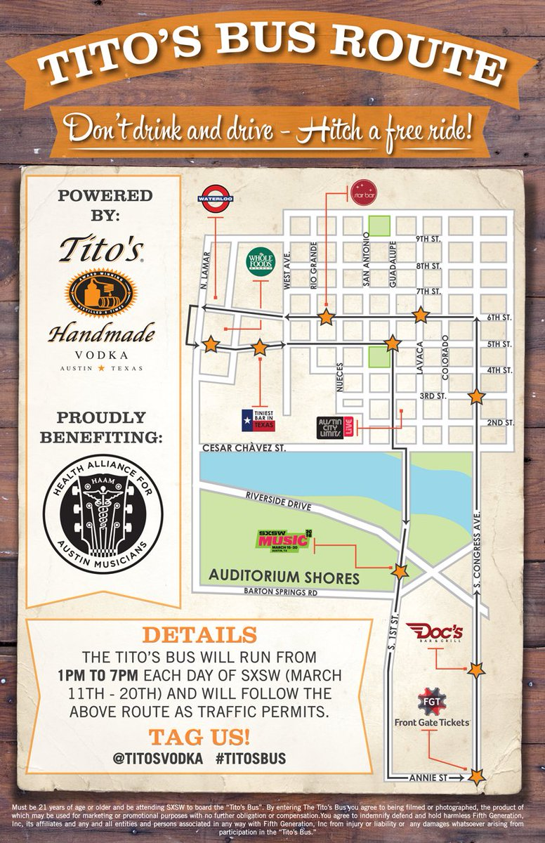 Hitch a free ride on the #TitosBus this #SXSW, running 1-7pm 3/11-20! #allaboard @myhaam https://t.co/so8VVaaRYd https://t.co/isDcw0enY6