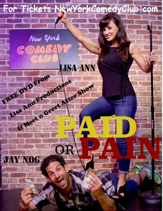 RT @thereallisaann: Friday March 18th @PaidorPain will be back @NewYorkComedy Sponsored by @Fleshlight