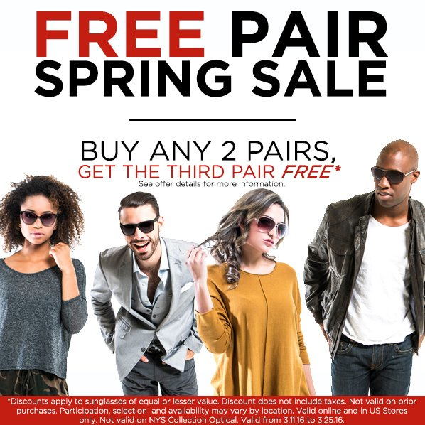 #Spring2016 has arrived! Check out our new #FREE PAIR #SPRING SALE on all #NYSCollection Eyewear. #deals #trends https://t.co/CjlM21b1X0