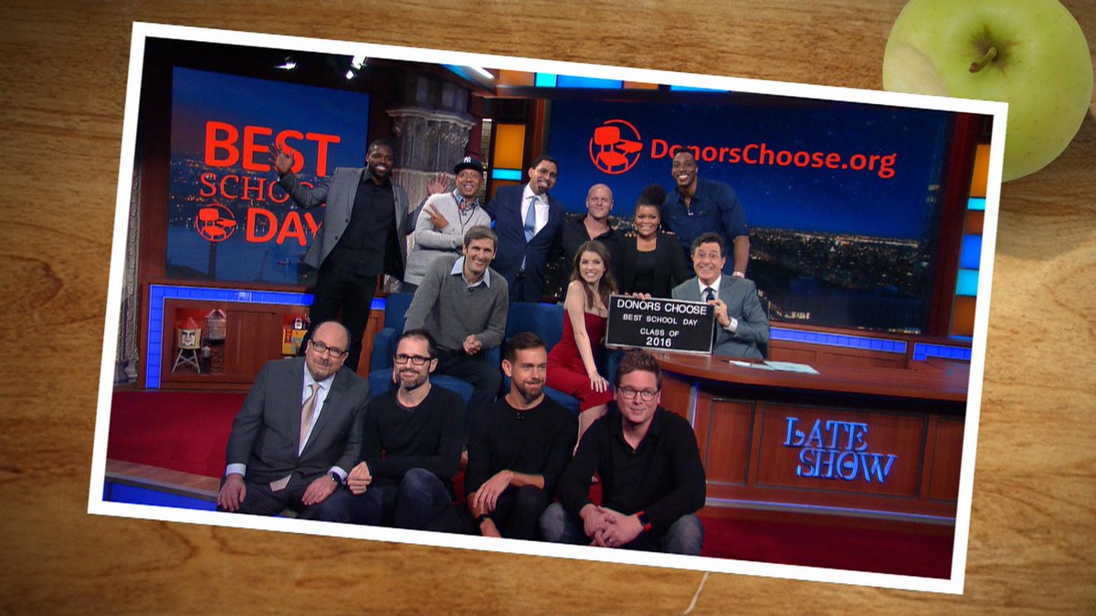 Thanks to all the donors who helped make it the #BestSchoolDay! #LateShow #LSSC