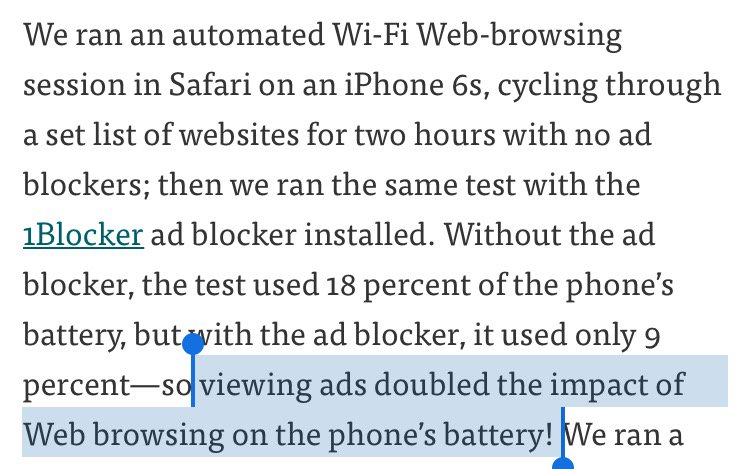 Wirecutter found that an ad blocker reduced battery drain by 50%. That is a lōt of percent.  https://t.co/Rih61C6gP8 https://t.co/lHpZYnyzmn