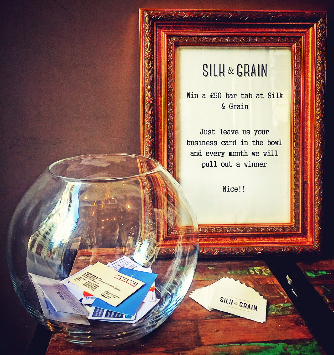 Silk and grain on twitter leave your business card in the fish silk and grain on twitter leave your business card in the fish bowl for your chance to win a 50 bar tab colourmoves