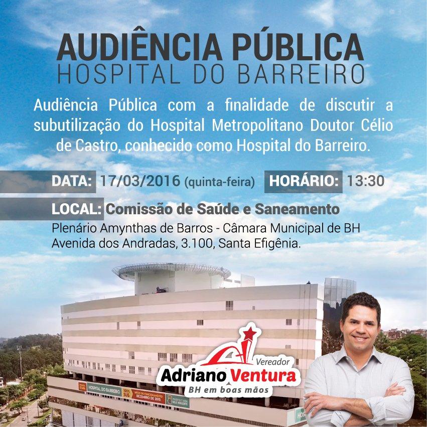 Audiência sobre subutilização do Hospital Barreiro.Participe! @barreiro_bh @pbhonline @romulovenades @victorcamposbh https://t.co/sMpZZCyBUR