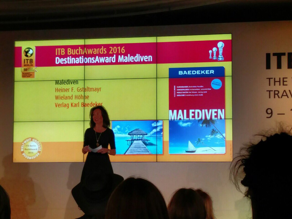 Destination Award is given to a book written about #Maldives at the ITBBook Awards #ITBBerlin https://t.co/6cuhBZyNdZ