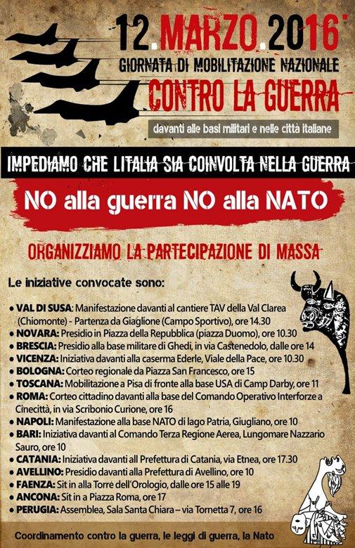 12 Marzo contro la guerra - locandina nazionale