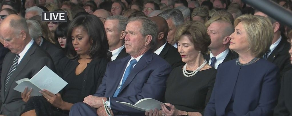 Front row of nancy reagan's funeral: michelle obama ...