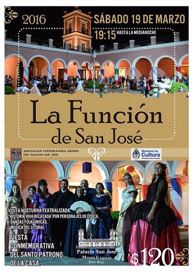 Sábado 19 | #LaFuncióndeSanJosé en Palacio San José - 19:15 hs.  *Entrada $120  ¡Te esperamos!