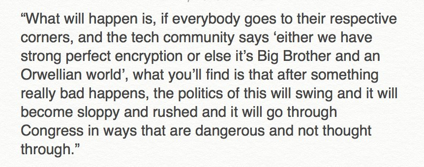 Obama said he couldn't discuss Apple vs. FBI. But, he pretty much did anyway. And this excerpt was powerful. #SXSW https://t.co/eWYh8ksjFH
