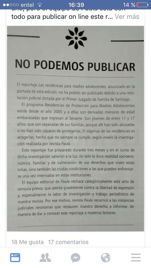 El silenciamiento a un reportaje de @revista_paula vía resolución judicial promete ser el gran tema ético del mes https://t.co/SKXsPSJQT2