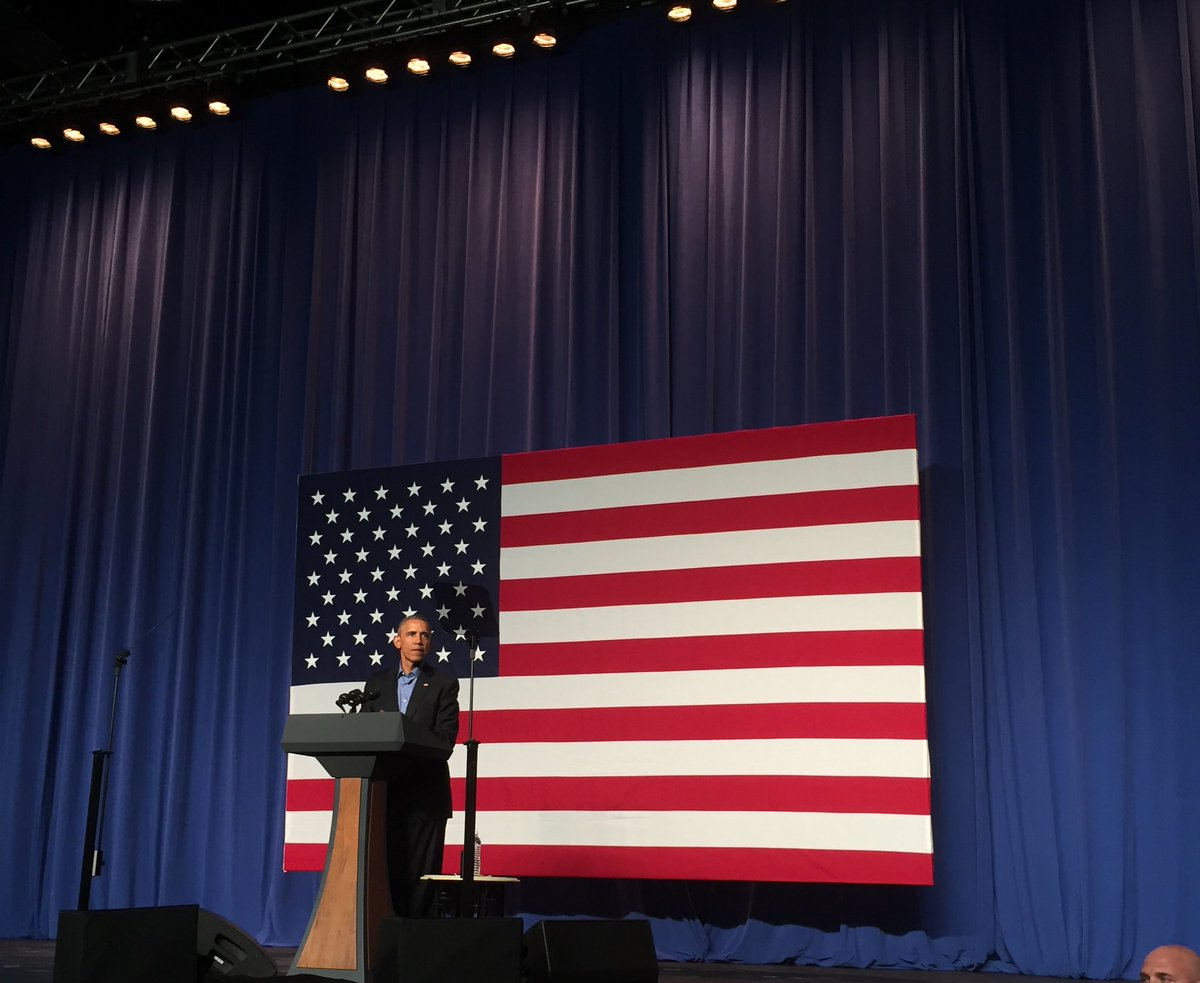 """Pres Obama """"America is pretty darn great right now"""" https://t.co/WmO2HlgZUN"""