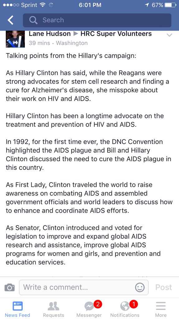 Hillary's record speaks for itself on AIDS. So I'm not commenting any more #ImWithHer #ShesWithUs https://t.co/gZwSXMwIWa