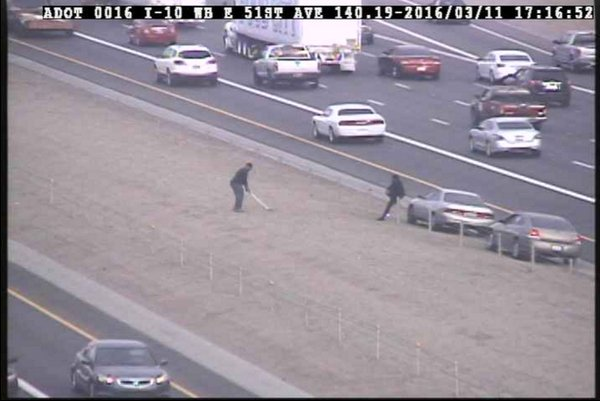 """Statement From DPS on Freeway Golf: """"Yes. What you are seeing is a guy practicing his golf swing."""" #12News https://t.co/EjMRKcKn5U"""