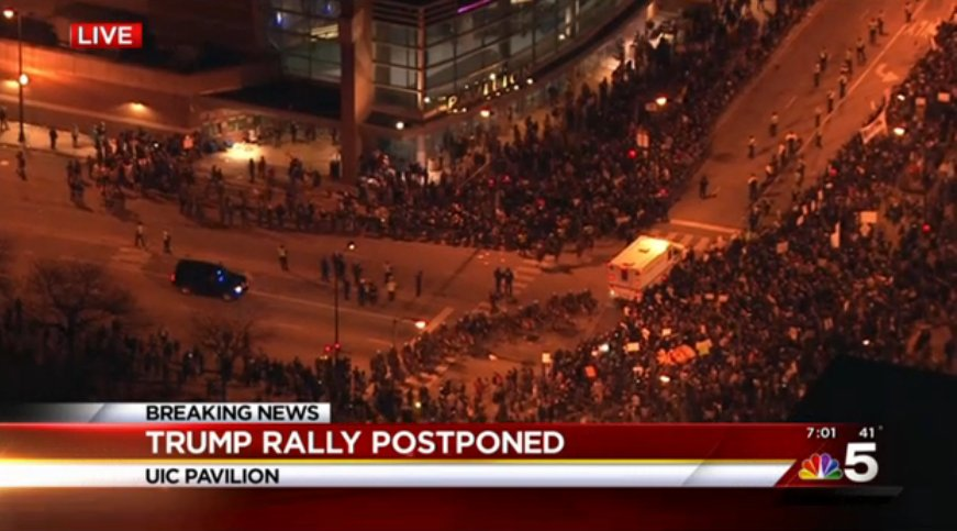 LIVE: Massive crowd gathers outside postponed Trump rally in Chicago. https://t.co/s6tsBbaXhY - @nbcchicago https://t.co/oMxaurveC0