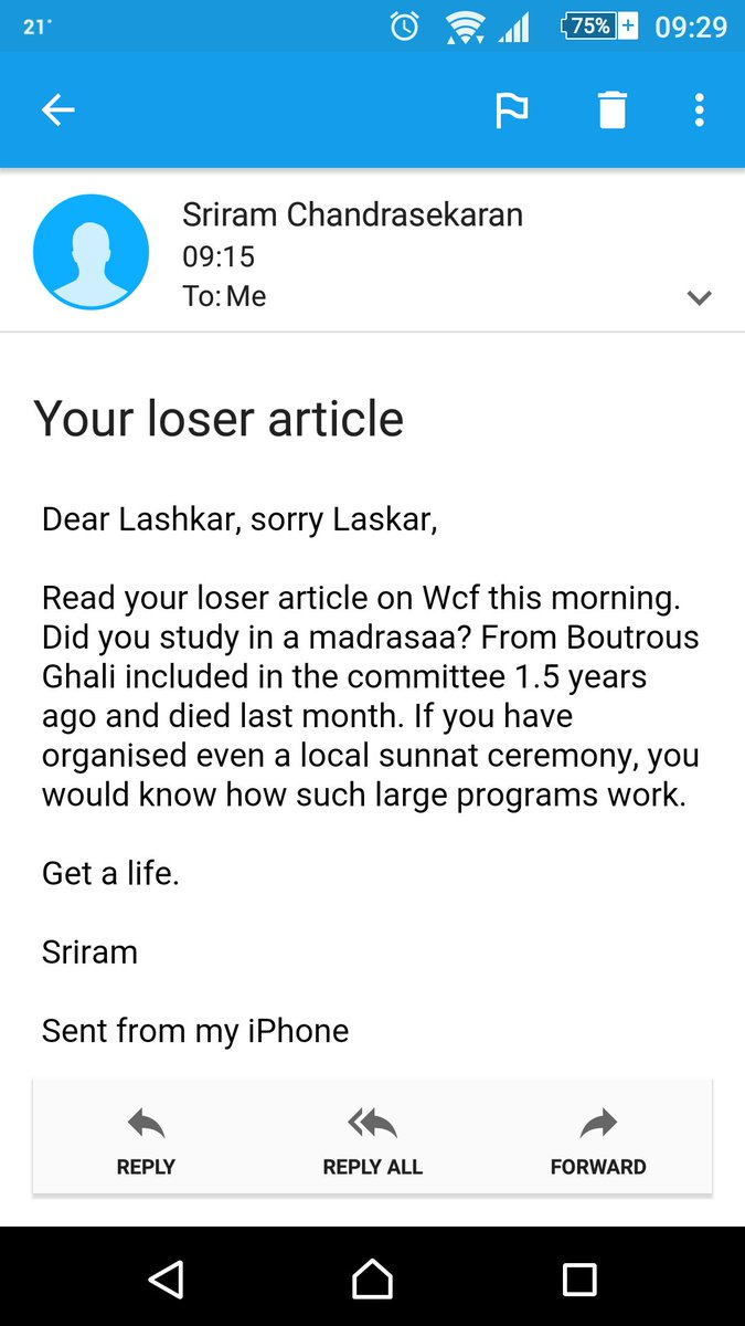 This is mailbox from Sriram Chandrasekaran, CEO of Broadvision Group & follower of @SriSri. Please RT. https://t.co/902k8UI3RK