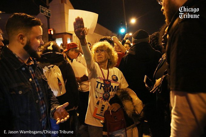 I was outside the canceled Trump event reporting, and this @ejwamb photo is the scariest thing I saw all night.